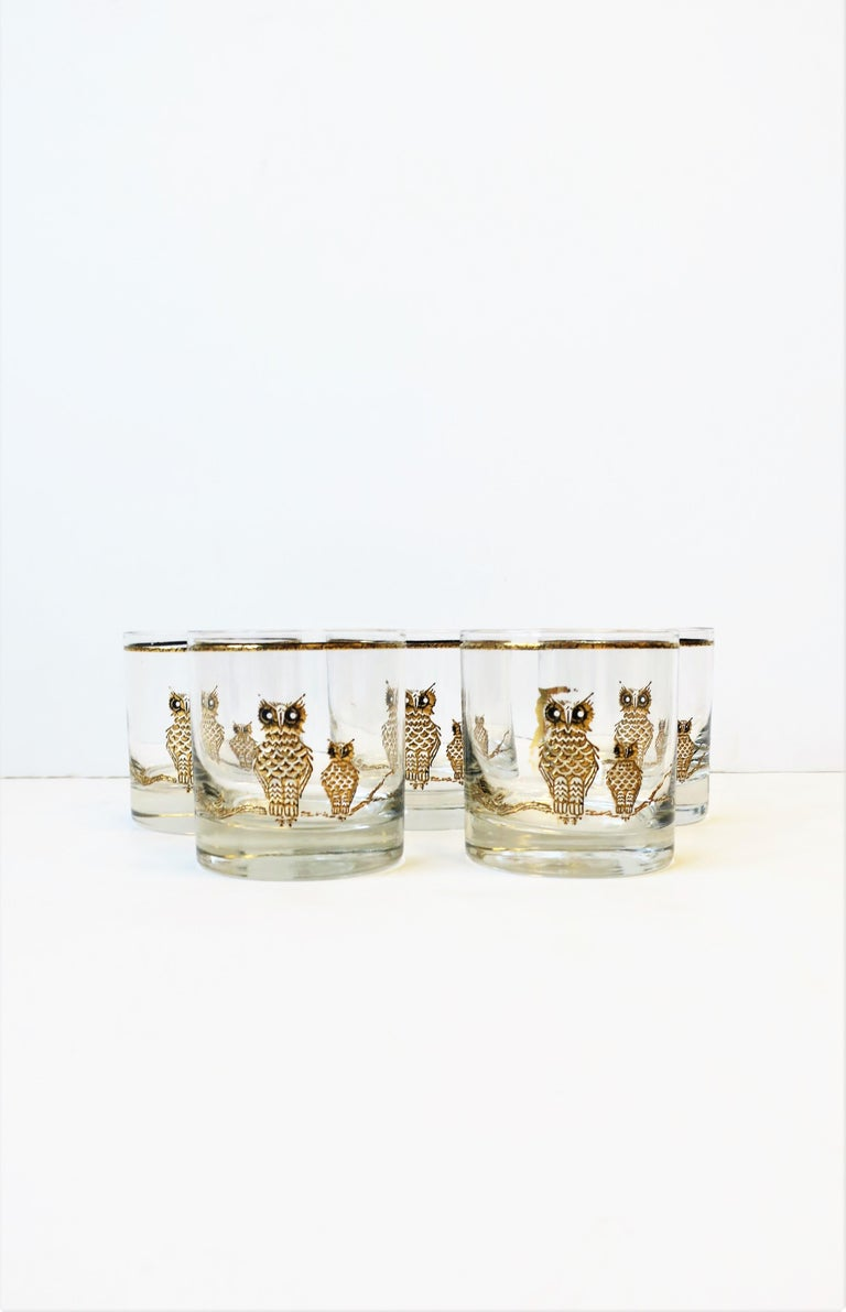 Vintage Owl Bird Cocktail Rocks' Glasses in Black and Gold, ca 1960s, Set of 5 In Good Condition For Sale In New York, NY