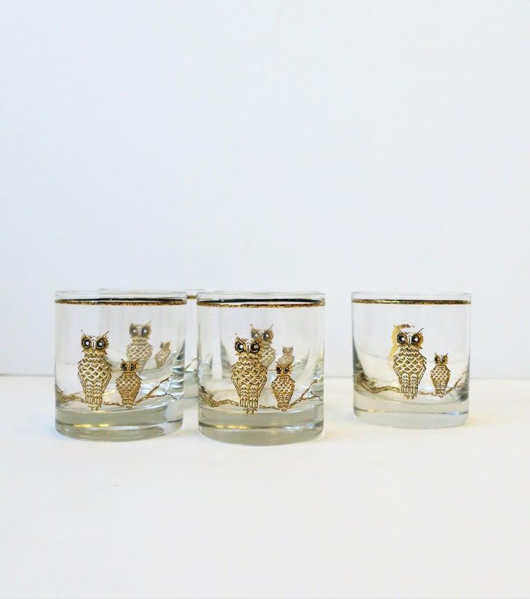 Vintage Owl Bird Cocktail Rocks' Glasses in Black and Gold, ca 1960s, Set of 5 For Sale 1