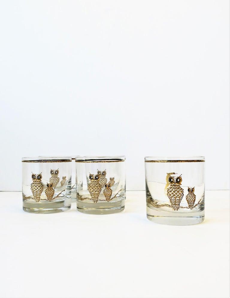 Vintage Owl Bird Cocktail Rocks' Glasses in Black and Gold, ca 1960s, Set of 5 For Sale 2