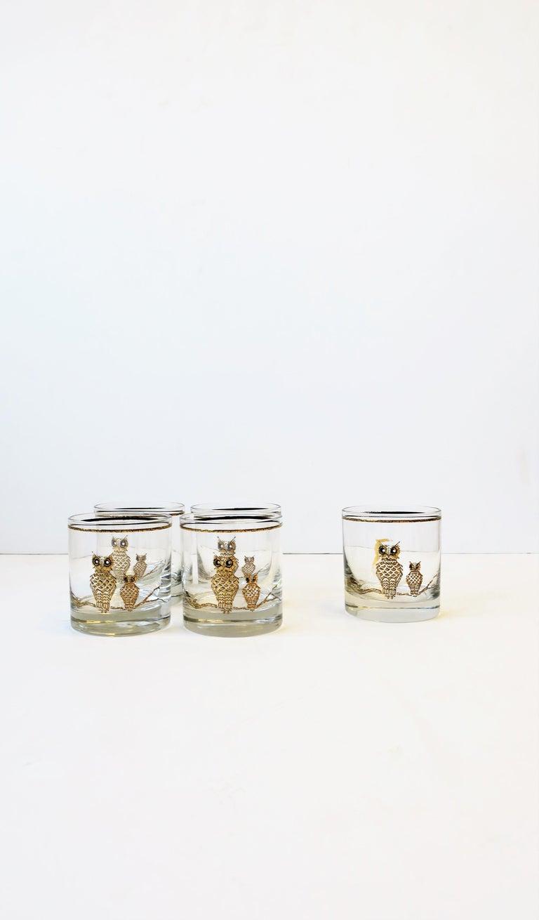 Vintage Owl Bird Cocktail Rocks' Glasses in Black and Gold, ca 1960s, Set of 5 For Sale 3