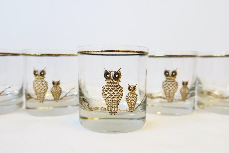 Vintage Owl Bird Cocktail Rocks' Glasses in Black and Gold, ca 1960s, Set of 5 For Sale 4