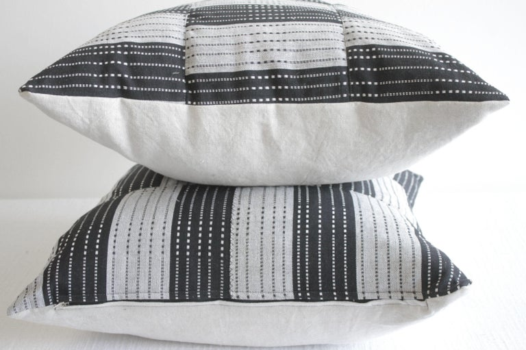 Contemporary Vintage Black and Natural Color Block Pillows For Sale