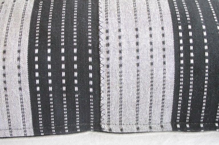Cotton Vintage Black and Natural Color Block Pillows For Sale