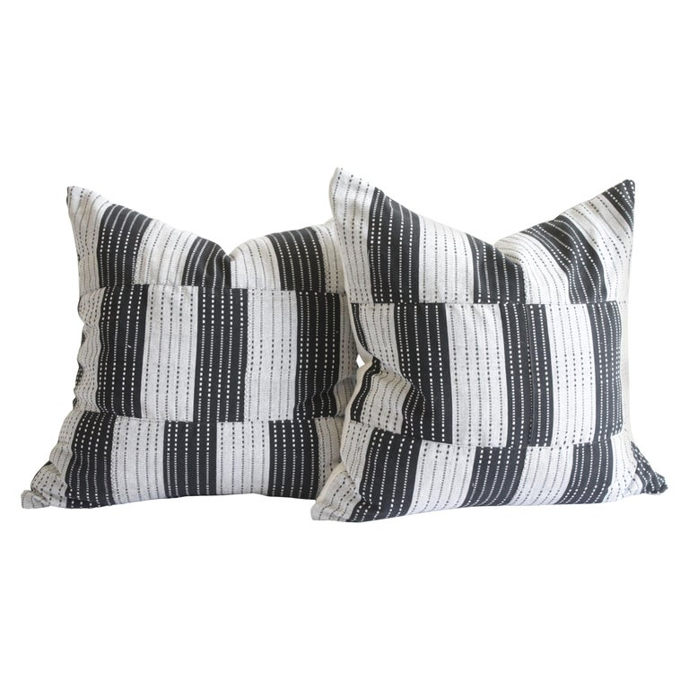Vintage Black and Natural Color Block Pillows For Sale
