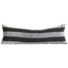 Vintage Black and Natural Striped Linen Lumbar Pillow