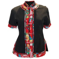 Vintage Black and Print Chinese Style Jacket