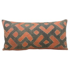 Vintage Black and Red Woven African Kuba Textile Decorative Bolster Pillow