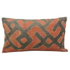 Vintage Black and Red Woven African Kuba Textile Decorative Lumbar Pillow
