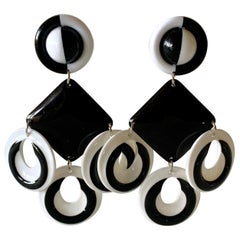 Vintage Black and White Architectural Statement Earrings