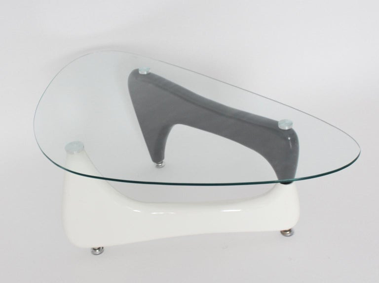 Modern Vintage Black and White Coffee Table or Sofa Table Wood Glass, 1970s For Sale