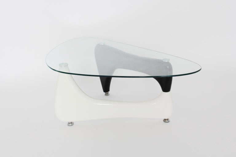 Lacquered Vintage Black and White Coffee Table or Sofa Table Wood Glass, 1970s For Sale