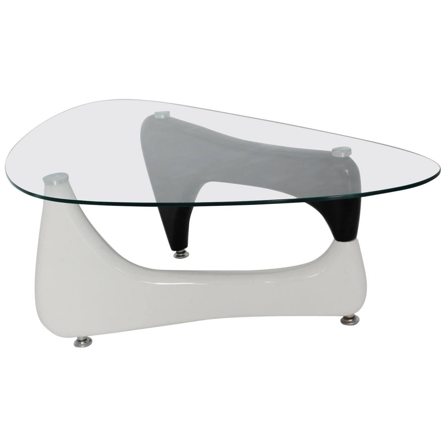 Vintage Black and White Coffee Table or Sofa Table Wood Glass, 1970s