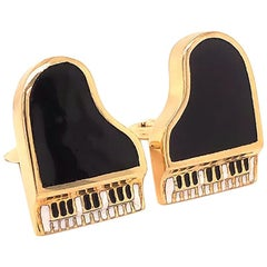Vintage Black and White Enamel Piano Cufflinks in 14 Karat Yellow Gold
