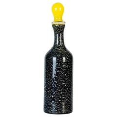 Vintage Black and White Spotted Bottle by Jean Mell Murano, Italy, 1970s
