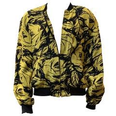 Vintage Black and Yellow Print Bomber Jacket