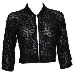 Vintage Black Beaded Evening Jacket