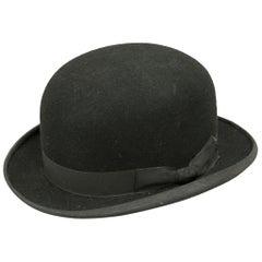 Vintage Black Bowler Riding Hat, Riding Helmet