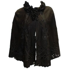 Vintage Black Cape with Embroidery Detail