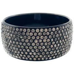 Vintage Black Celluloid Crystal Cuff Bangle