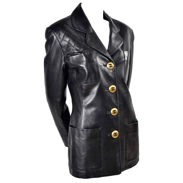 Chanel Vintage Black Leather Jacket With Quilting and CC Logo Brass Buttons