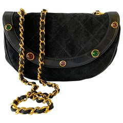 Vintage Black Chanel Quilted Gilt Gripoix Cross-body Handbag