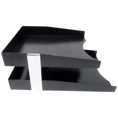 Vintage Black and Chrome Paper Tray
