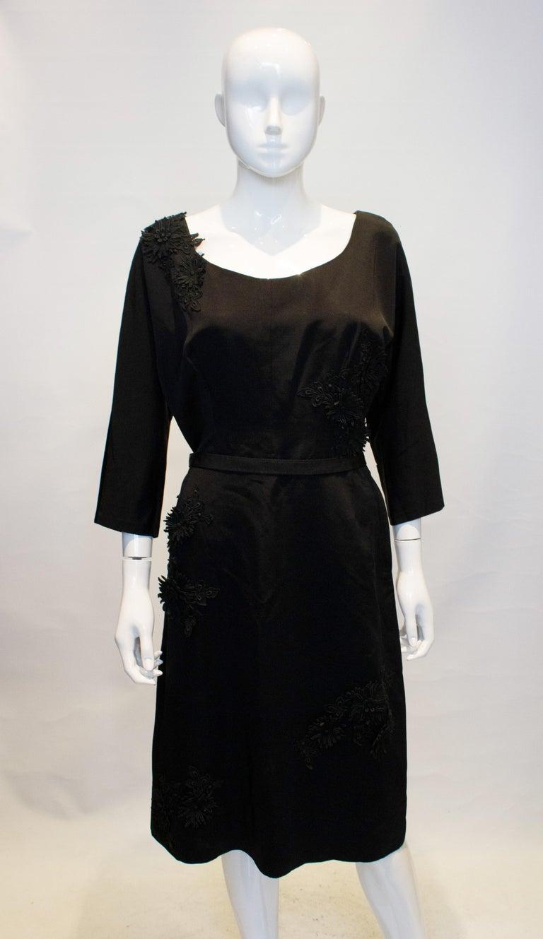 Women's Vintage Black Cocktail Dress with Floral Applique. For Sale