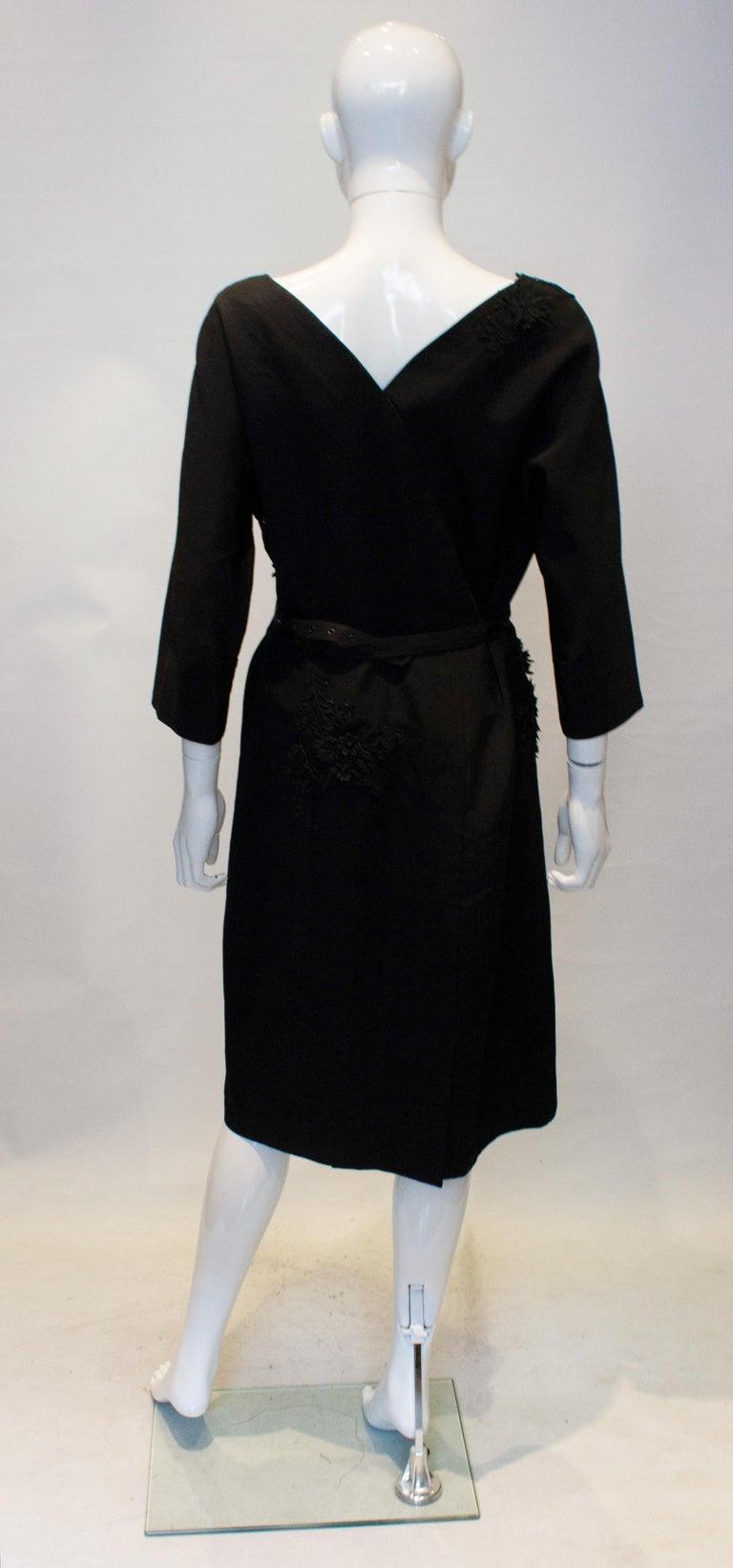 Vintage Black Cocktail Dress with Floral Applique. For Sale 3