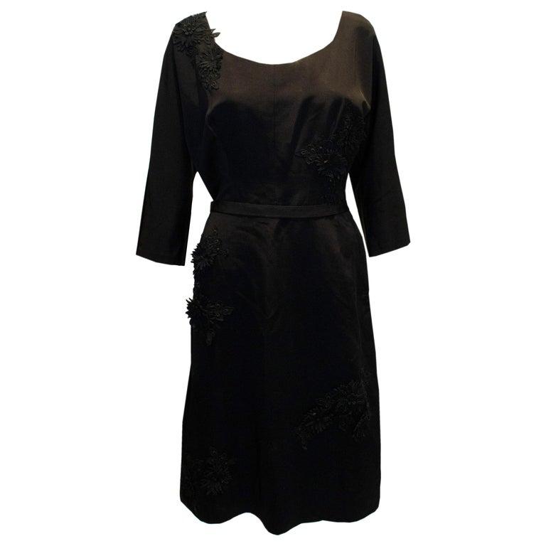 Vintage Black Cocktail Dress with Floral Applique. For Sale