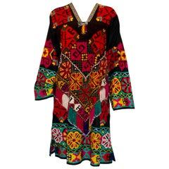 Vintage Black Cotton Embroidered Kaftan