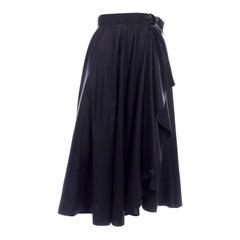 Vintage Black Cotton Yves Saint Laurent Skirt With Curved Hem & Faux Wrap Style