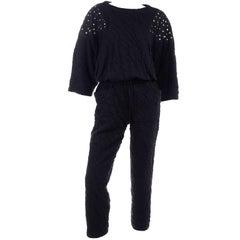 Vintage Black Crinkle 1980s Jumpsuit With Rhinestones & Dolman Sleeves