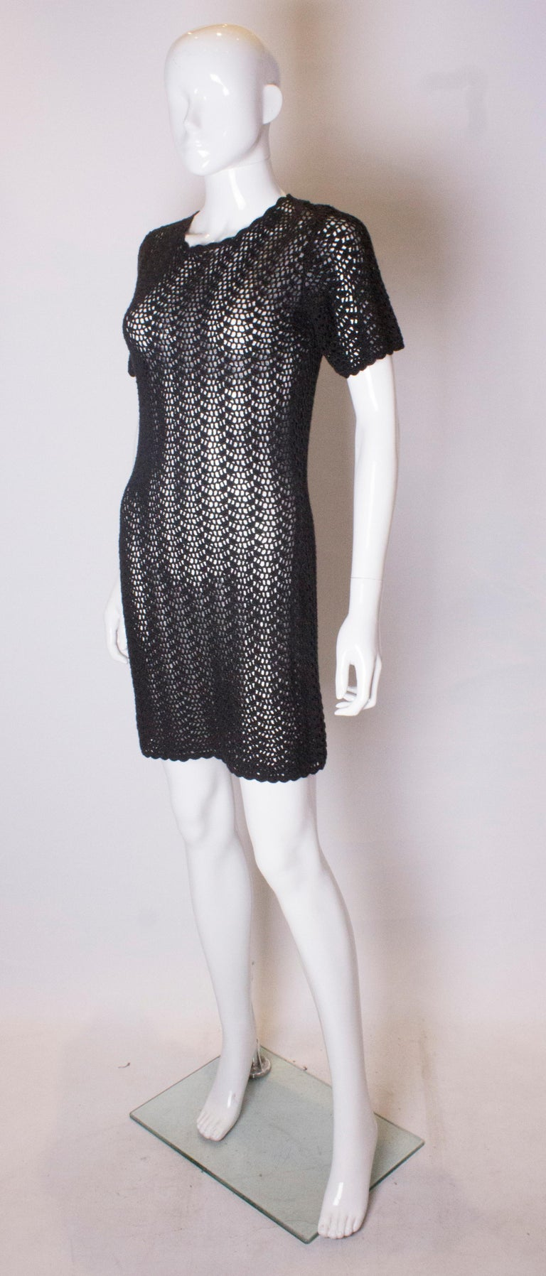 Vintage Black Crochet Mini Dress In Good Condition For Sale In London, GB