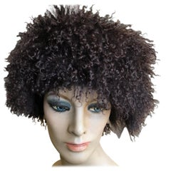 Vintage Black Curly Lamb Beret Hat from Neiman Marcus