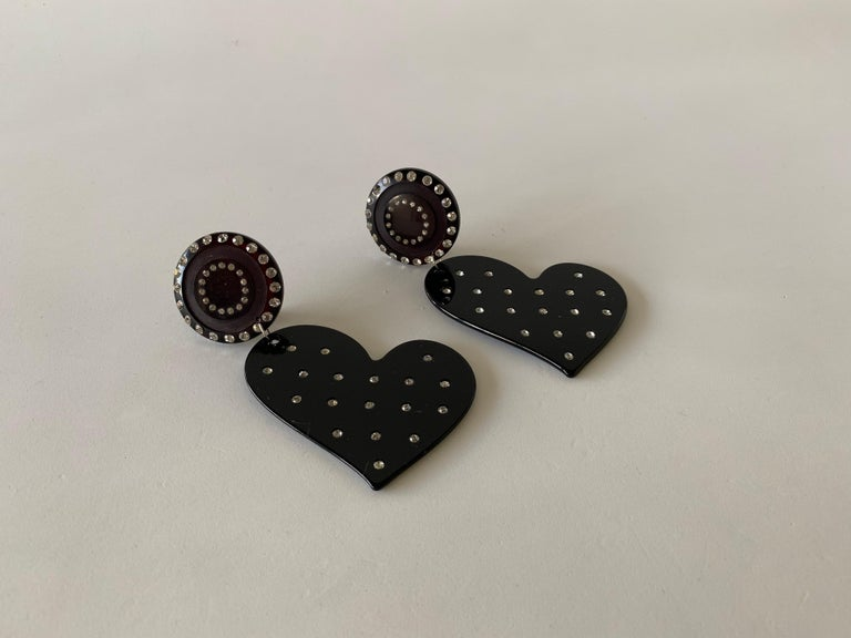 Vintage Black Diamanté Heart Statement Earrings  For Sale 5