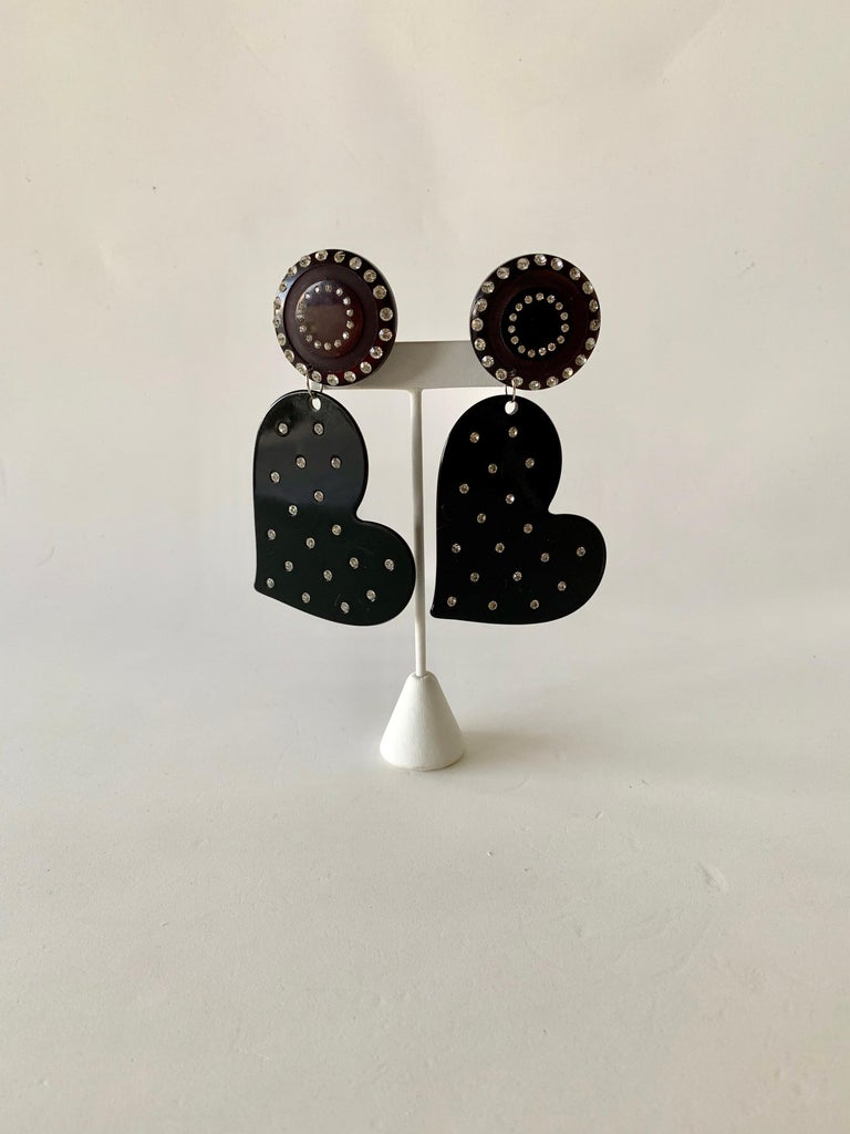 Vintage Black Diamanté Heart Statement Earrings  For Sale 2