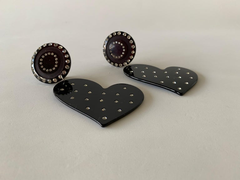 Vintage Black Diamanté Heart Statement Earrings  For Sale 4