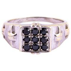 Vintage Black Diamond and 9 Carat White Gold Signet Ring