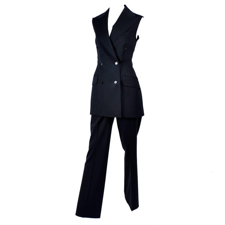 Dolce & Gabbana Vintage Black Trouser Suit with High Waist Pants and Long Vest