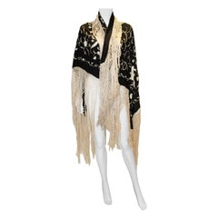 Vintage Black Embroidered Silk Piano Shawl with Fringing