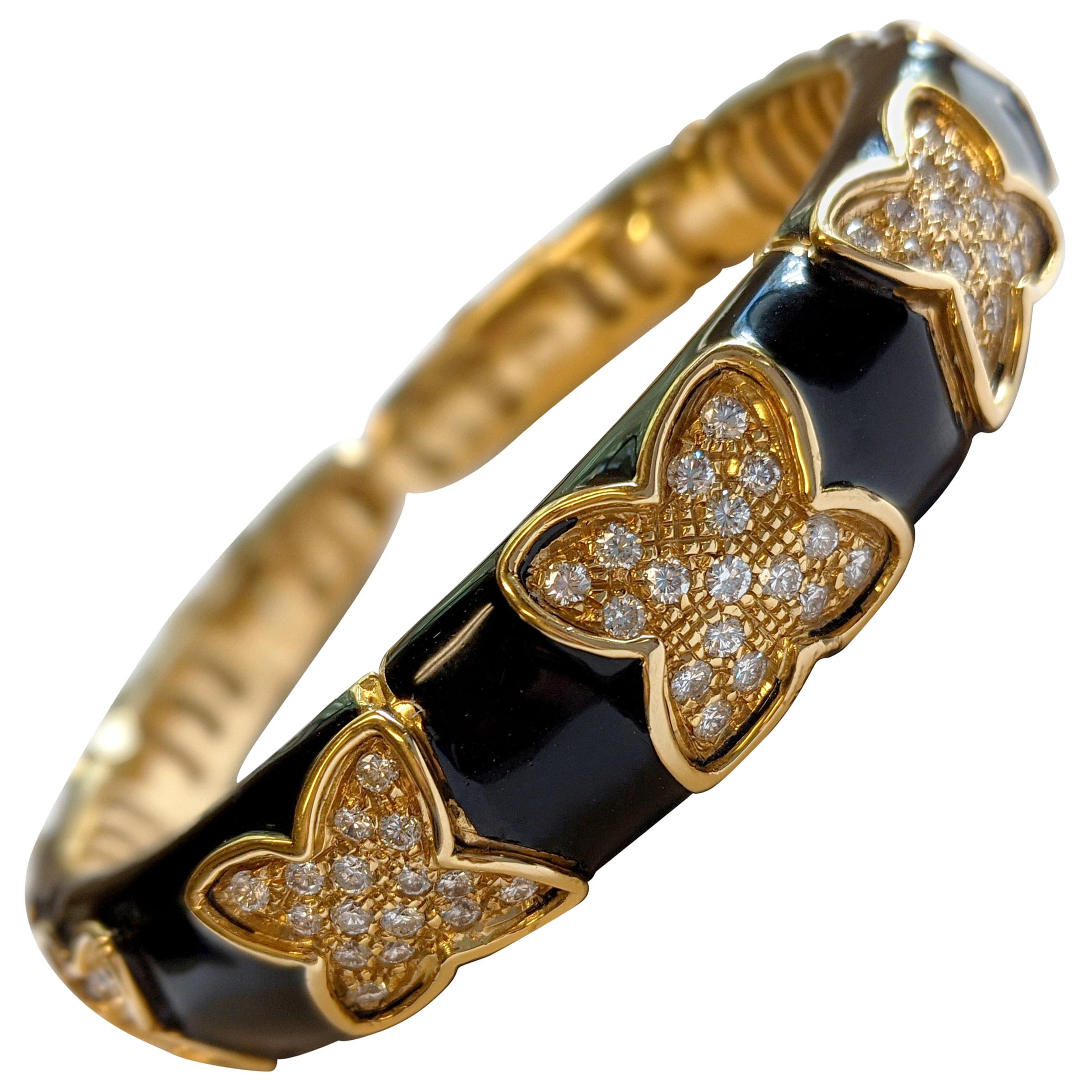 Vintage Black Enamel and Diamond Cuff Bracelet