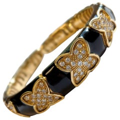 Vintage Black Enamel and Diamond Cuff Bracelet