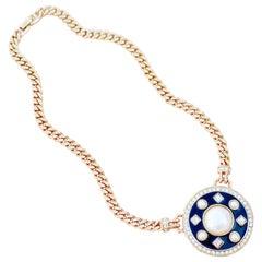 Vintage Black Enamel Deco Style Curb Chain Necklace by Monet, 1980s