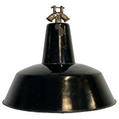 Vintage Black Enamel Industrial Factory Pendant Lamp, 1930s