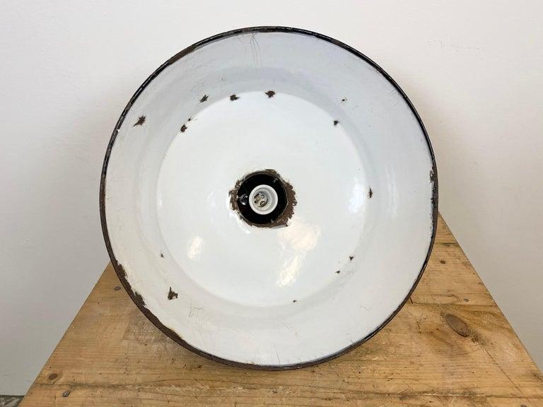 Vintage Black Enamel Industrial Pendant Light, 1930s For Sale 5