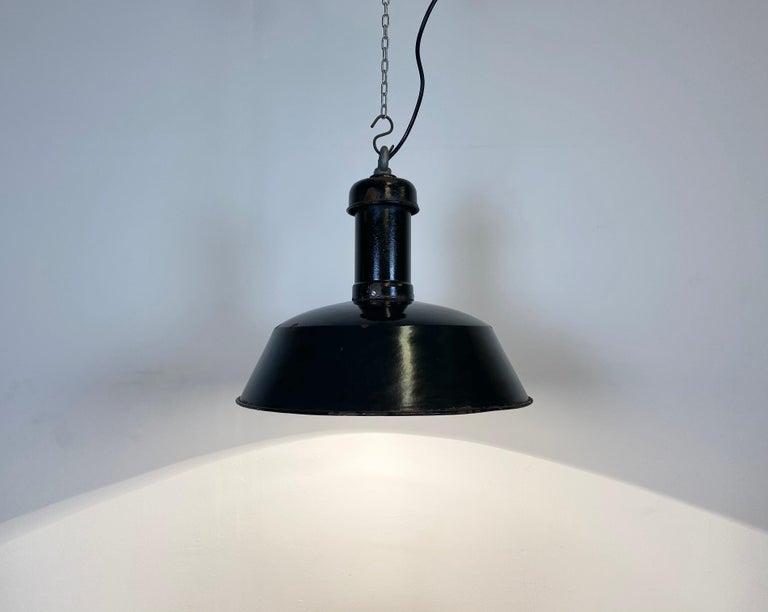 Vintage Black Enamel Industrial Pendant Light, 1930s For Sale 4