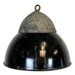 Vintage Black Enameled Hanging Lamp, 1930s