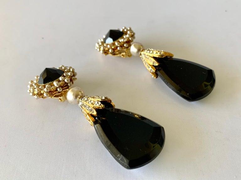Bead Vintage Black Faux Pearl Drop Earrings  For Sale