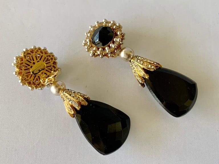 Vintage Black Faux Pearl Drop Earrings  For Sale 2