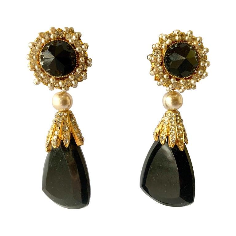 Vintage Black Faux Pearl Drop Earrings  For Sale